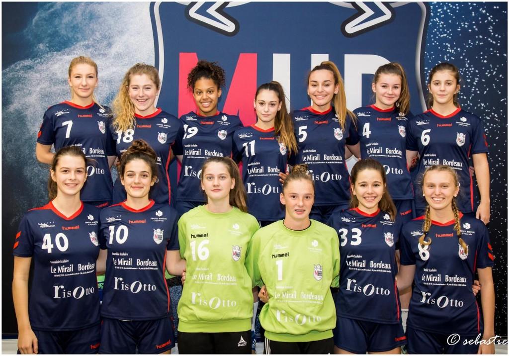 L'équipe -18 F C.D.F. du MHB • Entraîneur : Pascal LATOURNERIE • Partenaires : Le Mirail – Le Risotto