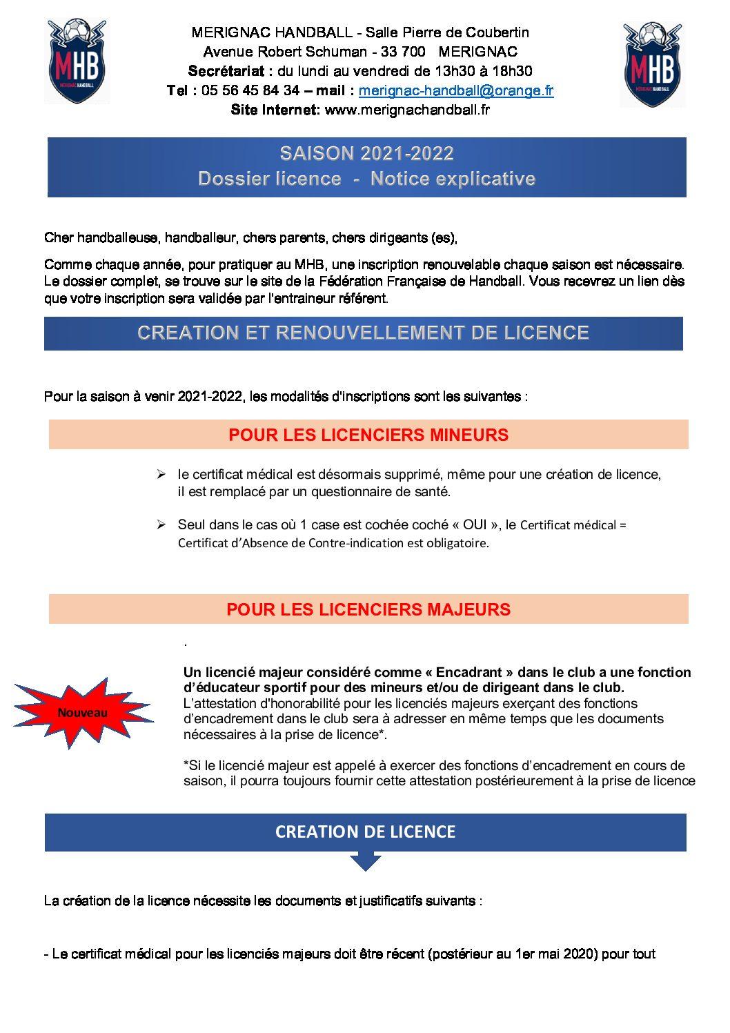 Dossier licence 2021/2022 - Notice explicative