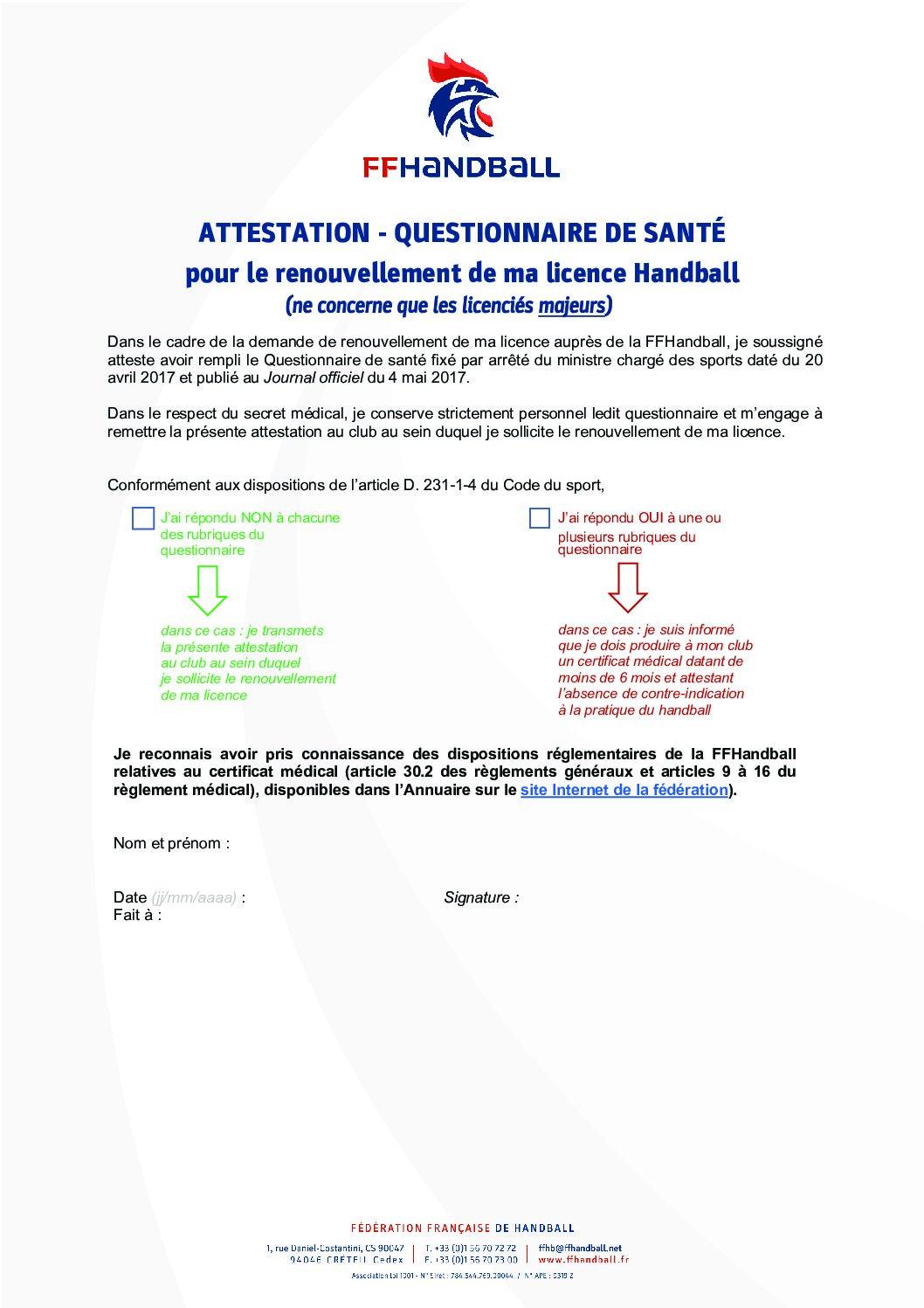 Attestation questionnaire santé