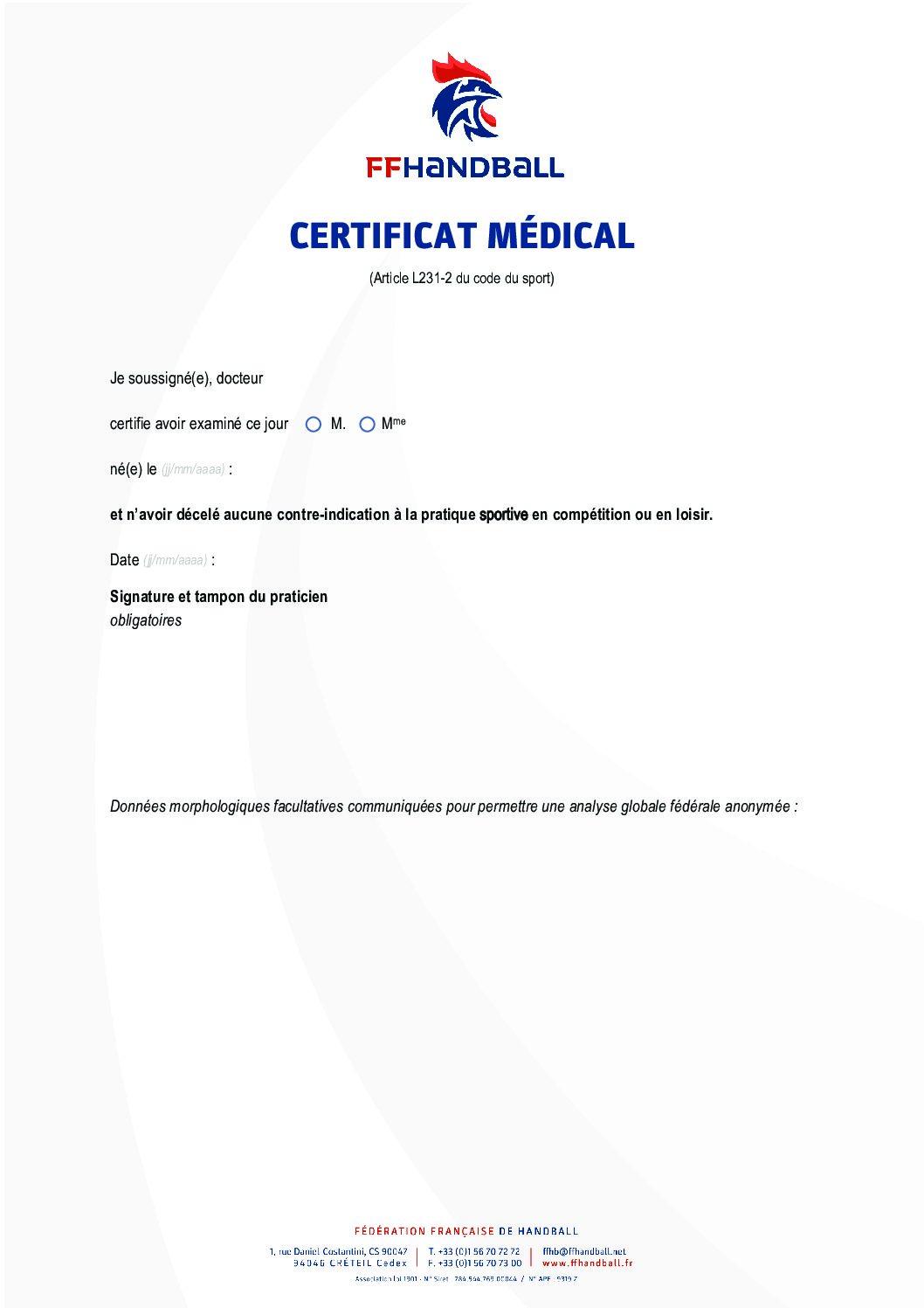 Certificat Médical