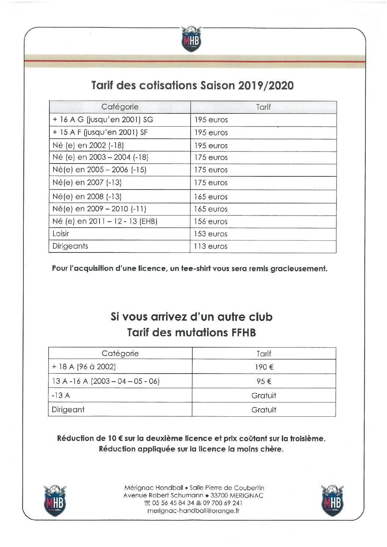 Tarifs Cotisations 2019/2020