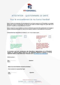 Attestation - Questionnaire Santé