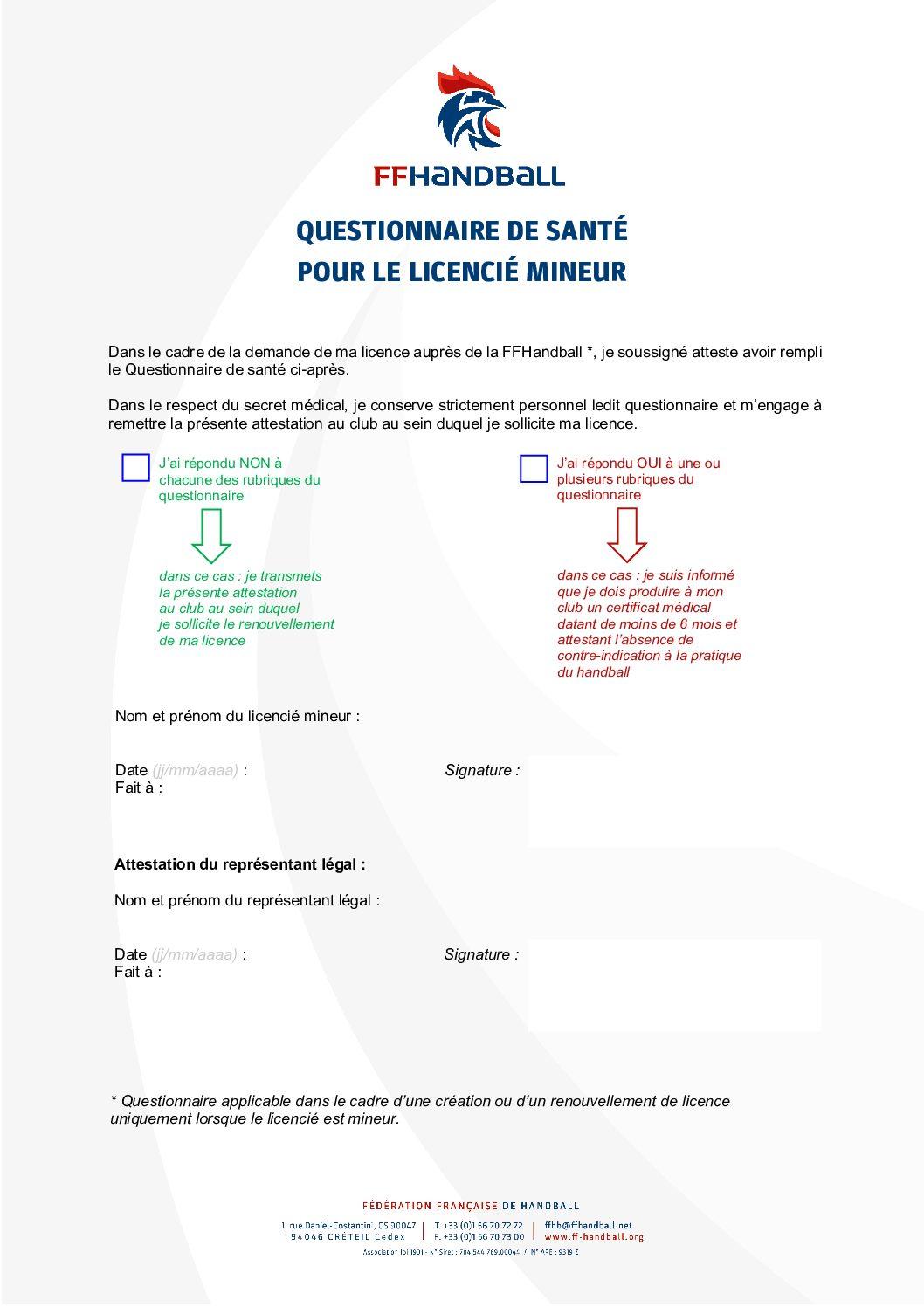 Questionnaire Santé Mineur