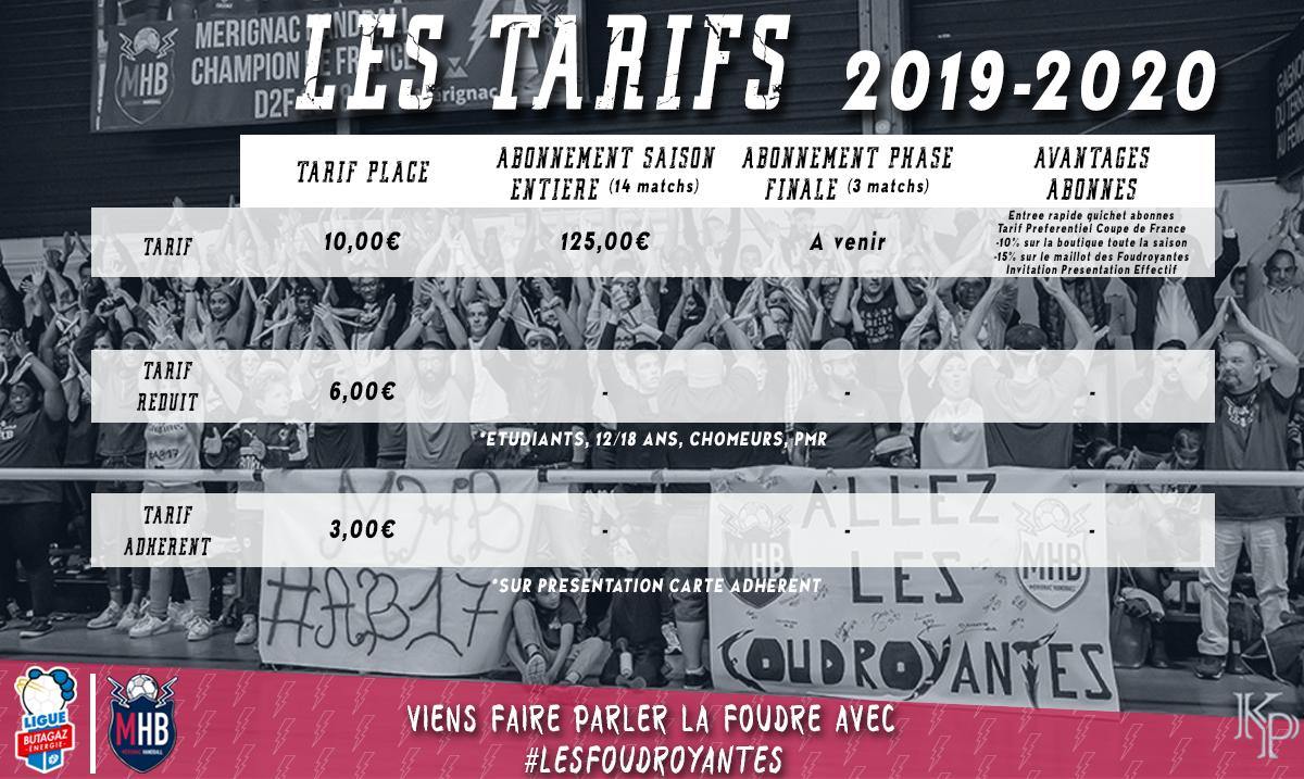 Tarifs Abonnement Saison 2019/2020