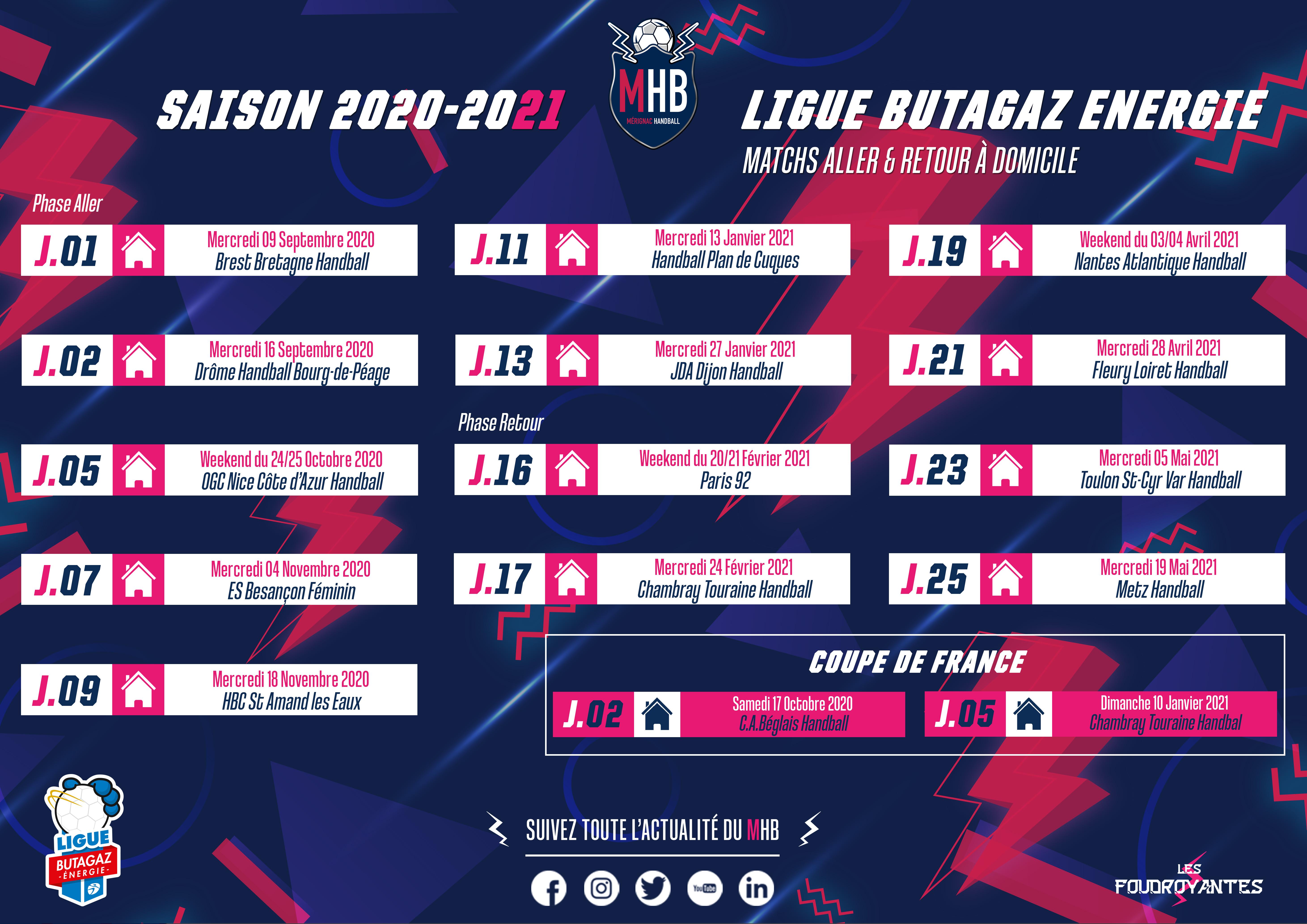 Calendrier Domicile Saison 2020-2021