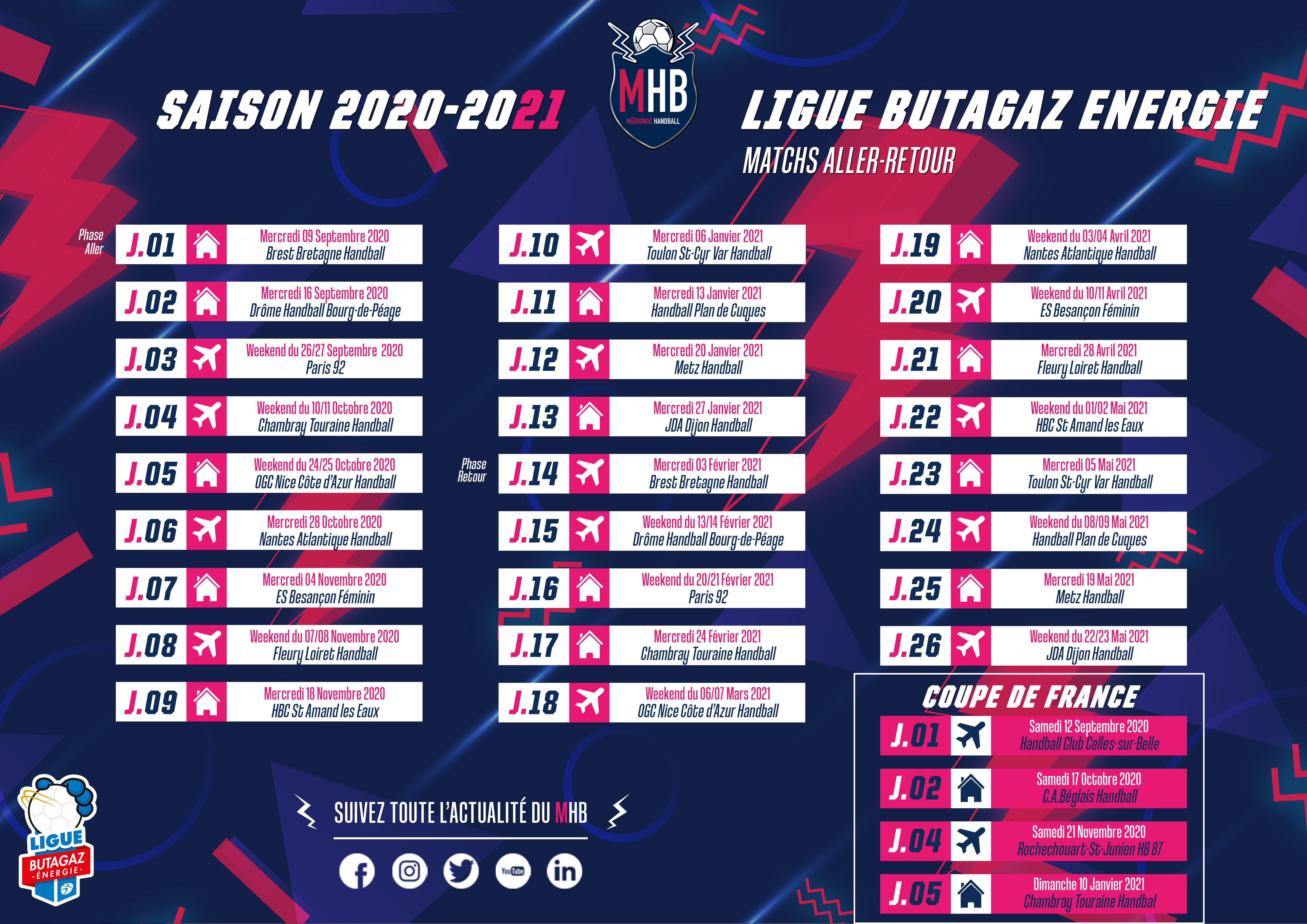 Equipe De France Calendrier 2021 Calendriers 2020 2021 du Mérignac Handball   Mérignac HandBall